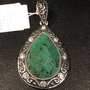 Lia Sophia Pendant Green, Black Stone & Crystal